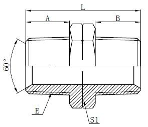 Hydrauliska NPT Male Adapters Drawing